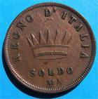 Photo numismatique  Monnaies Monnaies Françaises Napoleonides Soldo NAPOLEONIDES REGNE D'Italie NAPOLEONE IMPERATOR Soldo 2ème type, 1813 M Gadoury 5 TTB+