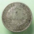 Photo numismatique  Monnaies Monnaies Françaises 1er Empire 1 Franc NAPOLEON Ier, 1franc 1808 BB Strasbourg, revers république, G.446 TTB+