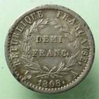 Photo numismatique  Monnaies Monnaies Françaises 1er Empire Demi franc NAPOLEON Ier, Demi franc 1808 A, revers république, G.398 TTB à SUPERBE