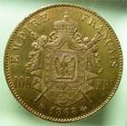 Photo numismatique  Monnaies Monnaies Françaises Second Empire 100 Francs or NAPOLEON III, 100 francs or 1868 BB Strasbourg, 789 exemplaires!! G.1136 TTB+ Rare!!
