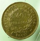 Photo numismatique  Monnaies Monnaies Françaises 1er Empire 40 Francs or NAPOLEON Ier, 40 francs or 1807 M Toulouse, (4994 exemplaires), G.1082a,  légère traces de monture sinon TB+/TTB