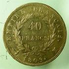 Photo numismatique  Monnaies Monnaies Françaises 1er Empire 40 Francs or NAPOLEON Ier, 40 francs or 1809 M Toulouse, (1402 exemplaires) G.1084 TTB/TTB+