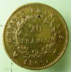 Photo numismatique  Monnaies Monnaies Française en or 1er Empire 20 Francs or NAPOLEON Ier, 20 francs or 1809 U Turin, ( 3400 exemplaires),  G.1025 TTB+ Rare!!