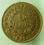 Photo numismatique  Monnaies Monnaies Française en or 1er Empire 20 Francs or NAPOLEON Ier, 20 francs or 1812 K Bordeaux ( 2650 exemplaires), G.1025 TTB R!