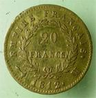 Photo numismatique  Monnaies Monnaies Française en or 1er Empire 20 Francs or NAPOLEON Ier, 20 francs or 1812 M Toulouse, ( 6498 exemplaires), G.1025 TTB