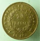 Photo numismatique  Monnaies Monnaies Française en or 1er Empire 20 Francs or NAPOLEON Ier, 20 francs or 1810 M Toulouse, (1983 exemplaires), G.1025 TTB Rare!