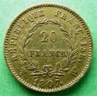 Photo numismatique  Monnaies Monnaies Française en or 1er Empire 20 Francs or NAPOLEON Ier, 20 francs or 1807 W Lille, tête nue,5181 exemplaires, G.1023a TTB+ R!
