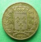 Photo numismatique  Monnaies Monnaies Françaises Charles X 20 Francs or CHARLES X, 20 francs 1826 W Lille, 6436 Exemplaires, G.1029 TTB+