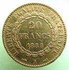 Photo numismatique  Monnaies Monnaies Fran�aises Troisi�me R�publique 20 Francs or 20 francs or Genie 1888 A, G.1063 TTB+ R!