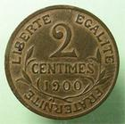 Photo numismatique  Monnaies Monnaies Françaises Troisième République 2 Centimes TROISIEME REPUBLIQUE, 2 centimes Dupuis 1900, une des monnaies Française les plus difficile à trouver!! G.107 TTB+ R!R