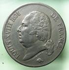 Photo numismatique  Monnaies Monnaies Fran�aises Louis XVIII 5 Francs LOUIS XVIII, 5 francs 1824 A, G.614 SUPERBE
