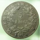 Photo numismatique  Monnaies Monnaies Françaises 1er Empire 5 Francs NAPOLEON Ier, 5 francs 1809 B Rouen, G.584 TTB