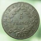 Photo numismatique  Monnaies Monnaies Françaises 1er Empire 5 Francs NAPOLEON Ier, 5 francs 1812 A, G.584, bel exemplaire avec une jolie patine !!!