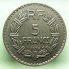 Photo numismatique  Monnaies Monnaies Françaises Troisième République 5 Francs 5 Francs Lavrillier 1936, G.760 SUPERBE + Très rare!!
