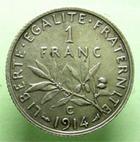 Photo numismatique  Monnaies Monnaies Françaises Troisième République 1 Franc 1 Franc Semeuse 1914 C (Castelsarrasin), G.467 SUPERBE+ Rare!!