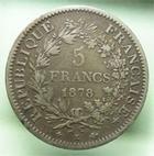 Photo numismatique  Monnaies Monnaies Françaises Troisième République 5 Francs 5 Francs Hercule 1878 K Bordeaux, G.745a TB à TTB