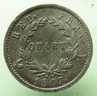 Photo numismatique  Monnaies Monnaies Françaises 1er Empire Quart de franc NAPOLEON Ier, quart de franc tête de nègre laurée, 1807 A, monnaie voilée sinon, G.349 TTB+ Rare!