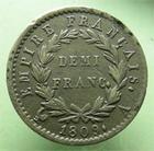 Photo numismatique  Monnaies Monnaies Françaises 1er Empire Demi franc NAPOLEON Ier, demi franc 1809 A, G.399 TTB