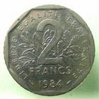 Photo numismatique  Monnaies Monnaies Françaises Cinquième république 2 Francs 2 Francs Semeuse 1984, 50347 exemplaires, G.547 TTB+