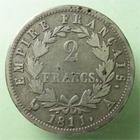Photo numismatique  Monnaies Monnaies Françaises 1er Empire 2 Francs NAPOLEON Ier, 2 francs 1811 A, G.501 TB à TTB