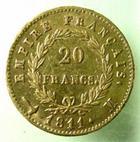 Photo numismatique  Monnaies Monnaies Française en or 1er Empire 20 Francs or NAPOLEON Ier, 20 francs or 1811 M Toulouse, 4971 exemplaires, G.1025 TTB R!