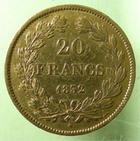Photo numismatique  Monnaies Monnaies Françaises Louis Philippe 20 Francs or LOUIS PHILIPPE, 20 francs or 1832 A, 6360 exemplaires!!, G.1031 TTB+ Rare!!