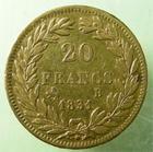 Photo numismatique  Monnaies Monnaies Fran�aises Louis Philippe 20 Francs or LOUIS PHILIPPE, 20 francs or au buste nu, 1831 B Rouen, tranche en relief, G.1030a, TTB+