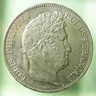 Photo numismatique  Monnaies Monnaies Françaises Louis Philippe 5 Francs LOUIS PHILIPPE, 5 francs 1833 T Nantes, G.678 SUPERBE!!