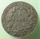 Photo numismatique  Monnaies Monnaies Françaises 1er Empire 1 Franc NAPOLEON Ier, 1franc tête nue AN 13 A, revers République, G.443 TTB