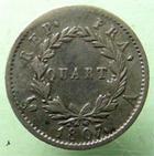 Photo numismatique  Monnaies Monnaies Françaises 1er Empire Quart de franc NAPOLEON Ier, quart de Franc, 1807 A, tête de nègre, G.348 TTB Rare!