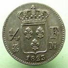 Photo numismatique  Monnaies Monnaies Fran�aises Louis XVIII 1/4 de Franc LOUIS XVIII, 1/4 de franc, 1823 M Toulouse, 3994 exemplaires!!, G.352 TTB � SUPERBE Rare!!