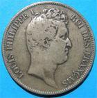 Photo numismatique  Monnaies Monnaies Françaises Louis Philippe 5 Francs LOUIS PHILIPPE Ier 5 Francs 1831 Q Perpignan, tranche en creux, Gad.676 TB Rare!