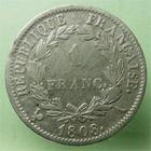 Photo numismatique  Monnaies Monnaies Françaises 1er Empire 1 Franc NAPOLEON Ier, 1 franc 1808 A, revers République, G.446 TB+