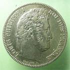 Photo numismatique  Monnaies Monnaies Françaises Louis Philippe 1 Franc LOUIS PHILIPPE Ier, 1 franc 1845 W Lille, G.453 TTB+ Légèrement néttoyé!!