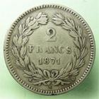 Photo numismatique  Monnaies Monnaies Françaises Défense nationale 2 Francs 2 Francs Cérès sans légende 1871 K Bordeaux, étoile, G.529 TTB
