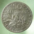 Photo numismatique  Monnaies Monnaies Françaises Troisième République 50 Centimes 50 Centimes semeuse de Roty, 1903, G.420 TB à TTB