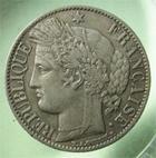 Photo numismatique  Monnaies Monnaies Fran�aises Troisi�me R�publique 1 Franc 1 Franc C�r�s 1872 K Bordeaux, G.465a TTB