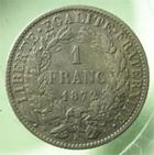 Photo numismatique  Monnaies Monnaies Françaises Troisième République 1 Franc 1 Franc Cérès 1872 K Bordeaux, G.465a TTB