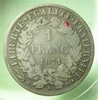 Photo numismatique  Monnaies Monnaies Françaises Défense nationale 1 Franc 1 Franc Cérès 1871 K Bordeaux, G.465 TB+