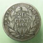 Photo numismatique  Monnaies Monnaies Françaises Second Empire 20 Cmes NAPOLEON III, 20 centimes tête nue 1860 BB Strasbourg, G.305 TB/TB+