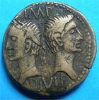 Photo numismatique  Monnaies Empire Romain AUGUSTE, AUGUSTUS, AUGUSTO Dupondius, dupondii NIMES (nemausus) AUGUSTE ET AGRIPPA dupondius, avant 10 apr�s JC, C.8 TTB