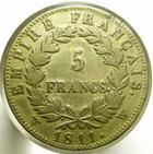 Photo numismatique  Monnaies Monnaies Françaises 1er Empire 5 francs faux d'époque NAPOLEON Ier, 5 francs faux d'époque, 1811 W Lille, 21.26 grammes, TB à TTB R!