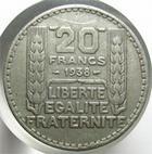 Photo numismatique  Monnaies Monnaies Fran�aises Troisi�me R�publique 20 francs Turin faux d'�poque 20 Francs Turin 1938, Faux d'�poque, 17.00 grammes, TTB R!
