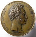Photo numismatique  Monnaies Médailles 19ème siècle Médaille bronze LOUIS ANTOINE, Dauphin, 1826, Pose de la 1ère pierre de la caserbe du Trocadero, graveur barre, Coll.506, Q.SUPERBE
