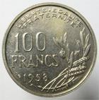 Photo numismatique  Monnaies Monnaies Françaises 4ème république 100 Francs 100 Francs Cochet 1958, G.897 SUPERBE à FDC