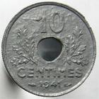 Photo numismatique  Monnaies Monnaies Françaises Etat Français 10 Centimes 10 Centimes Etat Français 1941, variète listel haut!!! G.290 Variante, TTB à SUPERBE Rare!!
