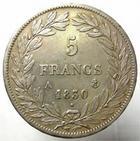 Photo numismatique  Monnaies Monnaies Françaises Louis Philippe 5 Francs LOUIS PHILIPPE Ier, 5 francs tête nue, 1830 A Tranche en relief, G.676a TTB+