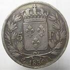 Photo numismatique  Monnaies Monnaies Fran�aises Charles X 5 Francs CHARLES X, 5 francs tranche en relief, 1830 A, G.644a TB+ Rare!