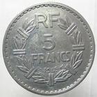Photo numismatique  Monnaies Monnaies Françaises Gouvernement Provisoire 5 Francs 5 Francs Lavrillier 1945 C, Aluminium, G.761a Néttoyé sinon TTB+