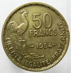 Photo numismatique  Monnaies Monnaies Françaises 4ème république 50 Francs 50 Francs Guiraud, 1954, G.880 Néttoyé, petit coup sur tranche sinon TTB